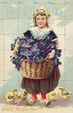 ️Antique Postcard.. Dutch Girl at Easter.
