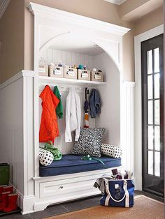 A simple shelf and a bench/drawer unit offer sit-down and stash-it spots inside this home's entryway: http://www.bhg.com/home-improvement/advice/expert-advice/remodel-to-add-storage-/?socsrc=bhgpin110114improvestorage&page=2