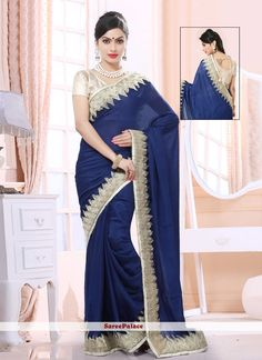 Awesome Dark Blue Border Work Party Wear Saree