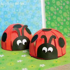 Bricolez de magnifiques coccinelles avec les enfants à partir de papier coloré et de ciseaux! - Trucs et Bricolages