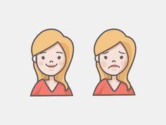 Happy Sad Girl Icon