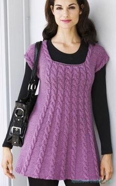 Красивое вязание | Туника с косами спицами.