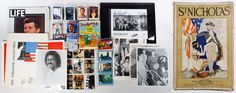 """Lot 641: Political and Hollywood Memorabilia Assortment; Including a 1963 Life magazine with Kennedy cover, Obama trading cards, c.1979 Paramount Pictures """"Star Trek"""" trade cards, 1982 """"E.T."""" cards, 1993 Apple Corp """"Beatles"""" cards, 1978 Elvis cards and a 1997 Geffen Records """"Counting Crows"""" signed photograph; together with twenty-one St. Nicholas magazines from 1921 to 1925"""