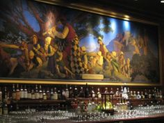 """Pied Piper Bar & Grill is also recognized for the famous Maxfield Parrish mural titled """"The Pied Piper of Hamlin"""" that graces the bar, and for its distinction as one of the """"World's Seven Greatest Bars. Palace Hotel San Francisco, San Francisco Bars, Maxfield Parrish, Fairy Tales, City, World, Bar Grill, Artwork, Spaces"""
