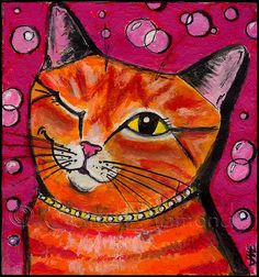 """""""Bubbly Cat"""" painting by Jane Diamond Louis Wain Cats, Frida Art, Orange Cats, Cat Colors, Colours, Cats And Kittens, Ragdoll Kittens, Funny Kittens, Bengal Cats"""