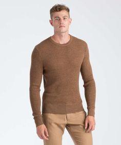 da27ddc20eb63 TODD SNYDER · Merino Wool Waffle Stitch Crewneck Sweater in Camel Waffle  Stitch