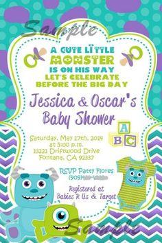 Monsters Inc Inspired Baby Shower Invitation Monster Baby Shower