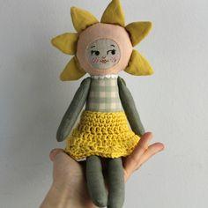 Flower doll. Sunflower. Crochet skirt. Natural dyed fabrics. Handmade doll.
