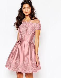 Image 1 of Chi Chi London Midi Dress with Embroidery and Cap sleeve- women's fashion
