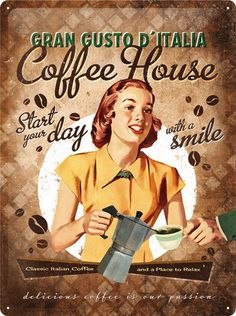 Coffee House Blechschild 30x40 cm Schild Sign Küche Cafe Kaffee Bohne Bean 23161…