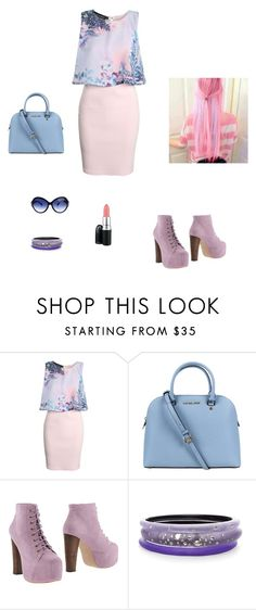 """""""162"""" by littlebookowl16 ❤ liked on Polyvore featuring Boohoo, Michael Kors, Jeffrey Campbell, Alexis Bittar, Oliver Peoples and MAC Cosmetics"""