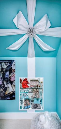 """Kennedy's 'Tiffany Box Closet' Designed by Weaver Design Group """"Tiffany inspired"""" hallway closet, transformed into a lavish vanity area, with unique inset mirrored niche to stow shoes and other accoutrements."""