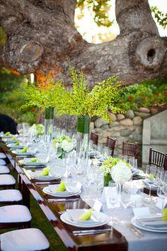 Green & white wedding decor