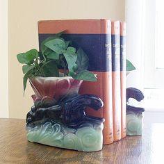 Vintage Panther Ceramic Bookends/Vase by VintageShelfAndWall, $39.75
