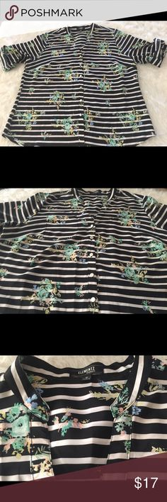 ELEMENTZ WOMAN  Button Down Blouse Sz 1X ELEMENTZ WOMAN  Black/flowers Button Down Blouse Sz 1X. Beautiful and really comfortable.  Any question please let me know... thanks ELEMENTZ Tops Button Down Shirts
