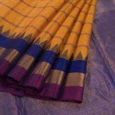 Handwoven Yellow Gadwal Kuttu Kora Silk Saree With Checks & Temple Border By Venkie Reddy 10010730 - AVISHYA.COM