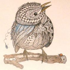 Prairie Warbler, template by Ben Kwok. Dusty added zentangle designs in this art form.