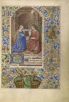 A book of hours is a private prayer book with a core group of prayers and readings structured around the eight daily devotional services practiced by the clergy. Jean Bourdichon, court painter to four successive French kings, illuminated this book of hours. He produced glorious miniatures with sophisticated landscapes, dramatic lighting, and monumental figures.