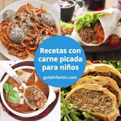 En hambuguesas, el albóndigas...qué de recetas se pueden hacer con carne picada. http://www.guiainfantil.com/recetas/carnes/recetas-faciles-con-carne-picada-para-ninos/