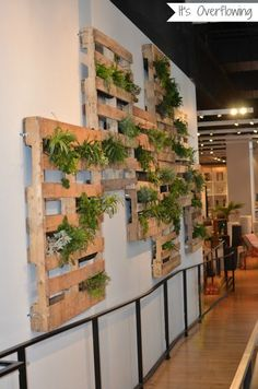 Creative Indoor Vertical Wall Gardens • Lots of Great Ideas and Tutorials! Including, from 'it's overflowing' this cool vertical pallet planter garden.