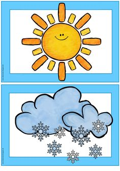 "Picture and word cards ""weather"" Claire has Flashcards / Wordcards on the topic . English Activities, Vocabulary Activities, Preschool Worksheets, Kindergarten Activities, Preschool Activities, Elementary Science, Science Classroom, Classroom Decor, Weather For Kids"