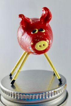 Items similar to Mini Smiling Clay Pig Red With Yellow Speckles and Yellow Legs on Etsy