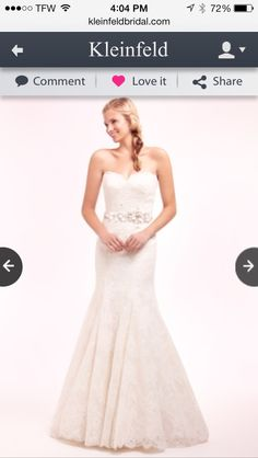 Sweetheart trumpet lace wedding dress from kleinfield with a jeweled belt