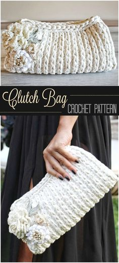 This crochet clutch bag is really pretty - I gave my bridesmaids a wedding day survival kit and this would've made a great bridesmaid gift idea to put everything in ...#afflink #crochet #crochetpattern #giftidea #giftsforher #bridesmaid #bridesmaidgift #weddingaccessories #crochetbags
