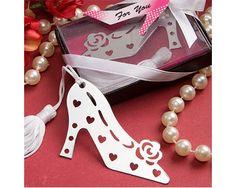 Shiny Silver Metal High Heel Shoe Bookmark Favor