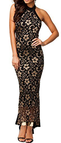 made2envy Halter Lace Mermaid Style Long Evening Dres M BlackGold C6241M -- Check this awesome product by going to the link at the image.