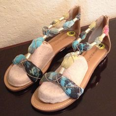NWT Cynthia Rowley BOHEMIAN Aqua/Gold Zip Sandals Flats Shoes Womens size 9 #CynthiaRowley #TStrap
