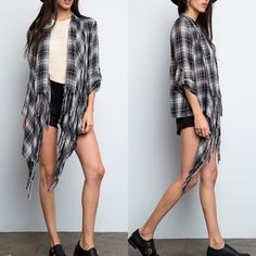 """X """"Fragmentary Blue"""" Plaid Jacket Plaid jacket / cardigan with long sleeves that can be rolled up. Open front. Lightweight, unlined. Brand new. True to size. ABSOLUTELY NO TRADES. Bare Anthology Sweaters Cardigans"""