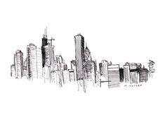 Drawn by Mitch Meseke of New York. Apparently he has never lived in Chicago, but loves our skyline & had to sketch it...