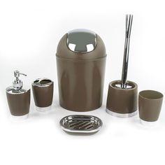 Plastic Bathroom Accessories Set 6 Piece Brown