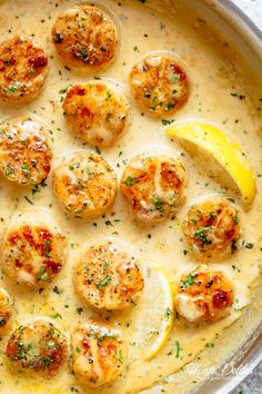 Creamy Garlic Scallops are just as good as restaurant scallops with minimal ingredients and maximum flavour! A silky, creamy garlic sauce with a hint of lemon coats crispy, buttery scallops! With only a handful of ingredients, you're minutes away f Garlic Scallops Recipe, Baked Scallops, Scallops On The Grill, Pan Seared Scallops, Scallops In White Wine Sauce Recipe, Pasta With Scallops, Salmon And Scallops Recipe, Sauce For Scallops, Scallop And Shrimp Pasta