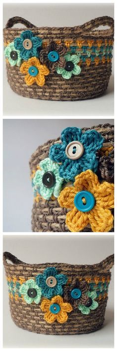 crochet basket with rope, flowers and buttons.crochet over twine Mode Crochet, Knit Or Crochet, Crochet Crafts, Yarn Crafts, Crochet Buttons, Yarn Projects, Crochet Projects, Crochet Bowl, Crochet Storage