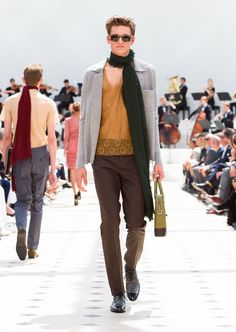 Burberry Spring/Summer 2016. Light brown cotton lace vest, wool-silk trousers and a double cashmere shirt in pale grey melange