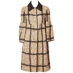 Bonnie Cashin Plaid Tweed Coat With Bell Sleeves   From a collection of rare vintage coats and outerwear at https://www.1stdibs.com/fashion/clothing/coats-outerwear/