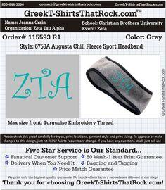 Zeta Tau Alpha Headband  http://www.greekt-shirtsthatrock.com/