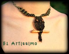 Macrame owl necklace boho jewelry/micro macrame necklace owl boho jewelry/hippie jewelry/hippie necklace by macramEll on Etsy