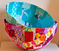Fabric bowls are a fun and easy craft for kids--photos and ideas here!