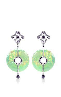 Green Turquoise And Diamond Earrings by Bochic - Moda Operandi