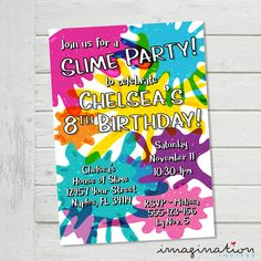Slime Invitation Slime Party Invite Slime Party Rainbow Slime Glitter Slime Birthday Party Unicorn Colors - Digital File Supplied