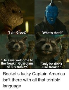 """At first I thought he just said """"welcome to the Guardians of the Galaxy"""", but then Rocket said he needs to work on his language I figured it out. Groot really does. Marvel Dc Comics, Marvel Avengers, Marvel Jokes, Marvel Squad, Marvel Funny, Marvel Heroes, Groot Avengers, Bucky, Sherlock"""