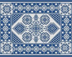 Antique Large Rug Monochrome circa 1891 Counted Cross Stitch Pattern PDF