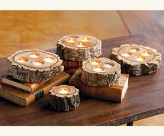 Tealight candle holders - these are for sale from Pottery Barn, but a saw and drill would be all that is needed to create these.
