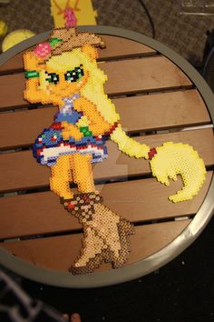 MLP Equestria Girls- Rainbow Rocks Applejack perler by Akira-The-Alicorn on deviantART Melty Bead Patterns, Hama Beads Patterns, Beading Patterns, Perler Bead Art, Perler Beads, Equestria Girls, Rainbow Rocks, Pony Drawing, Fuse Beads