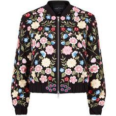 Needle & Thread Flower Embroidered Bomber Jacket (2.235.780 IDR) ❤ liked on Polyvore featuring outerwear, jackets, flower jacket, bomber jackets, floral embroidered jacket, crepe jacket and dark denim jacket