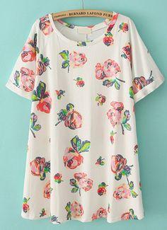 Beige Short Sleeve Floral Loose Straight Dress - Sheinside.com