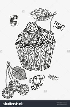 Sweet cupcake with berries and cream zentangle